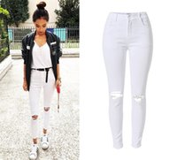 Wholesale White Ripped Leggings - Wholesale- Casual skinny high waisted ripped tassels white jeans stretch women's pants jegging trousers leggings plus size woman feminina