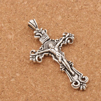Wholesale Medallions Charms - Traditional Crucifix Cross Charm 40pcs lot 59.5x33mm Antique Silver Pendant Medallion L1656 Jewelry Findings & Components