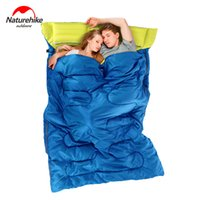 Wholesale Double Long Pillows - Wholesale- NatureHike Outdoor Double Sleeping Bag Envelope Style Camping Hiking Portable Sleeping Bag with Pillow Spring and Autumn