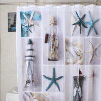 Wholesale Shell Block - Wholesale- Fashion Sea Shell starfish Waterproof Fabric Shower Curtain With 12 Hooks world map Pebbles bathroom bathing blocking curtains