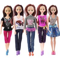 Wholesale Dress Pairs Doll Shoes - Random 5 Pcs Doll Fashion Beautiful Suit Clothes + 5 Pairs Shoes Barbie Doll Handmade Dresses Accessories Barbie Dolls Girl Gift Kid Toys