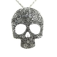 готический череп ожерелье кулон оптовых-Wholesale-Hot Womens Vintage Skull Gothic Pendant Bib Statement Retro Choker Charm Necklace Classic Jewelry Gift