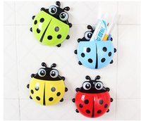 Wholesale Toothbrush Holder Suction Ladybug - NEW Ladybug Toothbrush Holder, 4 Colors Cartoon Suction Hook Toothbrush Rack, Wall Suction Holder Bathroom Sets