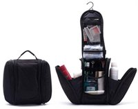 Wholesale Hanging Toiletry Bag Free Shipping - Free shipping 2015 Black New Orgarnizer Shaving men's travel bags Deluxe Large Hanging Hook Travel Toiletry Kit bag