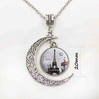 Wholesale Eiffel Tower Pendant Necklace - Beautiful Eiffel tower Cabochon Pendant Necklace Handcrafted necklace moon hollow silver jewelry chain for women girl