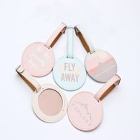 Wholesale Suitcases School - Accessories Luggage Tag Cute Circular PU Baggage Boarding Tags Portable Label suitcase luggage tags wedding favors