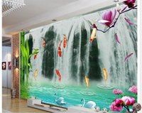 Wholesale Background Fish - High Quality Costom Modern fashion momentum magnificent waterfall nine fish picture TV background wall decoration painting