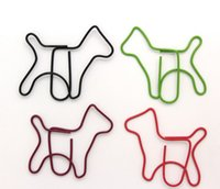 Wholesale Cute Shaped Paper Clips - Wholesale-Metal Mini Paper Clips Cute Dog Shape Colorful Pattern Clips For School and office Supplies