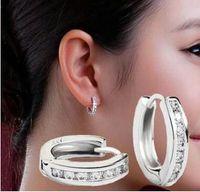 Wholesale Ear Clip Men - Sterling 925 silver ear clip fashion simple square diamond ear clip earrings Both men and women