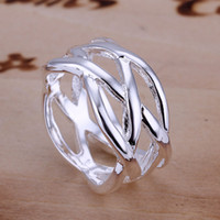 Wholesale Couples Rings Japan - Fish Net Ring Simple Silver Plated Classic Romantic Couple Models Japan and South Korea Fashion Accessories, Free Shipping