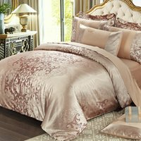Wholesale designer king size bedding sets online - Luxury New Designer Cotton golden yellow Bedding Sets Bed Sheet Jacquard Duvet Cover pillowcase queen king size Home textile