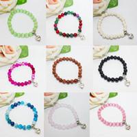 Wholesale Elastic Love Bracelet - Wholesale Love Brand Charm Bracelets Bangles Elastic Rope Chain DIY Natural Stone Friendship Bracelets Beaded Jewelry