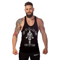 trajes quentes dos homens venda por atacado-Moda de Alta Qualidade Hot Sale Muito Luz Mens Esporte de ouro Ginásio Bodybuilding Costume Camisola Stringer
