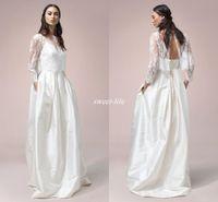 Wholesale Vintage French Lace Wedding Dress - Bohemian French Lace Wedding Dresses With Open Back 2017 Sheer Neck 3 4 Sleeve Modern Bridal Dress Soft Satin Spaghetti Beach Wedding Gowns