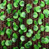 sahte yeşillik toptan satış-Toptan-2016 Yeni Yapay Begonya Vine Yaprak Sahte Garland Bitkiler Vine Fake Yeşillik Çiçekleri Ev Düğün Dekor 7.5 metre 1 ADET