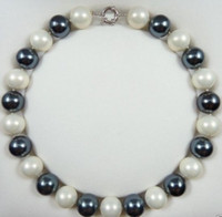 Wholesale Rare Shells - FFREE SHIPPING**Rare Natural 16mm White Black South Sea Shell Pearl Round Beads Necklace 18''
