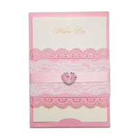 Wholesale Printable Lace Invitations - Wholesale- 12pcs lot Pink Heart Rhinestone Diamond Laser Cut Wedding Invitations Elegant Lace Party Decoration Card Free Printable JJ885