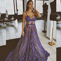 Wholesale Elie Saab Spaghetti Strap Dress - 2017 Elie Saab Sheer Purple Evening Dress Lace Appliques Sexy V-neck Backless Prom Dresses Party Gowns with Spaghetti Straps