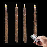 Wholesale Led Taper Candles Wholesale - 4Pcs Lot 11 Inch Flameless Remote Ready Textured Chocolate Brown Wax Dipped LED Taper Candles, Country Primitive Décor wedding