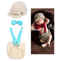 Wholesale Knit Hats Diaper Covers - Baby Accessory Photo Props Little Gentleman Toddler Hand Knitted Crochet Costume Matching Tie Hat Diaper Covered Newborn Clothes