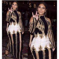 Wholesale Kim Kardashian Dress Designer - High QUALITY Paris Fashion 2017 Designer Runway Dress Kim Kardashian Women's Luxurious Hand Work Beading Maxi Long Dress PF-035