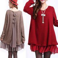 Wholesale Knee Length Sweaters Women - Fashion Women Bow Tie Ruffle Top Plus Size Splice Day Casual Sweater Dress Blouse O-Neck Dresses