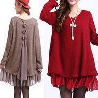 mais tamanho arco suéter venda por atacado-Moda Feminina Bow Tie Plissado Top Plus Size Splice Day Casual Camisola Vestido Blusa O Pescoço Vestidos