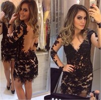 Wholesale long sleeve cocktail dress sales - Sexy Illusion Black Cocktail Dresses Long Sleeve Lace Backless Short Prom Dress V Neck Hot Sale Sheath Party Gowns