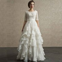 Wholesale Silver Wrapping Ribbon - Ivory Organza Country Wedding Dresses With Sleeves Square Neck Appliques Beaded Tiered Skirts Wedding Dress Plus Size Bridal Gowns Cheap