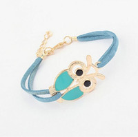 Wholesale Vintage Rhinestone Owl Bracelet - 2017 Fashion Womens Girls Charm Bracelets Vintage Owl Decoration Faux Leather Bracelets Good-looking