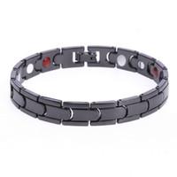 Wholesale Black Magnet Bracelet - Punk Healthy Energy Bracelet Men Black Chain Link Bracelets Jewelry High Quality Copper Magnet Charm Bracelets for Men Jewelry Free Shipping