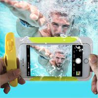 Wholesale Underwater Camera Iphone - PVC Mobile Phone Waterproof Bag Hot Spring Swimming Underwater Diving Camera Universal Touch Screen Waterproof Cover ZPG212