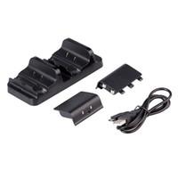 paquete de baterías xbox one al por mayor-Base de cargador de estación de carga dual + 2 x Paquete de batería recargable + Cable de alimentación USB para controladores inalámbricos XBOX ONE Slim S