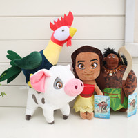 Wholesale Movies Plush Doll - New Movie Hot 4pcs Lot 20-30cm Moana Pua Heihei Mauli Waialik Plush Doll Stuffed Animals Toy For Baby Gifts akye-040
