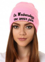 ingrosso cappello di lana rosa-il mercoledì indossiamo cappello berretto rosa Berretto moda autunno inverno cappello lavorato a maglia sci berretto di lana ou capo copricapo copricapo scaldino sci cappello caldo