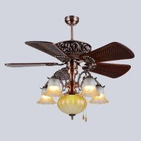 Wholesale wooden bulb for sale - Group buy Retro European American style LED ceiling fans lights inches cm carved wooden blades leaves mute energy saving led ceiling fan