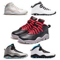 Wholesale Men Soccer Shoes Venom - 2017 air retro 10 X men Basketball Shoes steel Grey powder Blue Chicago Seattle Blue Ice Bobcats Infrared Venom 10 Sneakers high quality