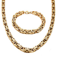 Wholesale Mens Heavy Stainless Steel Chain - Vintage Mens Stainless Steel Chunky Byzantine Bracelet Necklace Chain Heavy Metal Gold Tone 2Pcs Jewelry Set Punk Rock Style