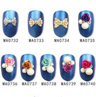 laço de liga venda por atacado-20 Pçs / lote Liga de Prata Glitter 3d Nail Art Flor Bowtie Decorações com Pedrinhas Prego Encantos Jóias em Unhas de Salão suprimentos