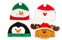 Wholesale Baby Favours Free Shipping - New year hat Baby hat Christmas hat Party supplies snowman old man penguin elk Party Favours Children's Caps 4 style free shipping