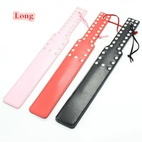 Wholesale Leather Spanking Gear - 37cm Long Leather Black Red Pink BlTCH SM Flog Spank Paddle Beat Submissive Slave Kinky Fetish BDSM Whip Torture Gear Sex Toy