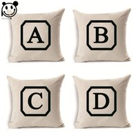 Wholesale PEIYUAN New Design Custom Printing English Alphabet A to Z Linen Square Cushion Cover