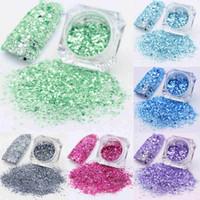 nuevas decoraciones de uñas al por mayor-A estrenar 3g Nail Art Glitter Powder moda polvo manicura decoración consejos DIY 12 colores encantadora belleza salud Nail Art