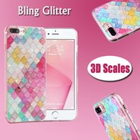 Barato Cor Cristalina-Rainbow Color Colorido 3D Scales Squama Bling Glitter Shining Sparkle Crystal Clear Soft Capa TPU Case para iPhone X 8 7 Plus 6 6S SE 5 5S