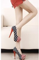 Wholesale Spring Big Flag - Shoes new blue American flag pattern navy wind stiletto heel waterproof big yards career woman single job interview single shoes