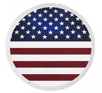Wholesale Striped Beach Cover Ups - VAGABOND BEACH Fringed Round Beach Towel With Usa Flag - American Dreamer