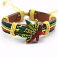 Wholesale Titanium Metal Bracelets - Wholesale Genuine Leather Metal Maple Jamaica Unisex Men's & Lady's Love Fashion For Women Bracelet Bangle lucky leaf men
