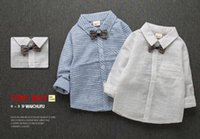 Wholesale Korean Style Striped Shirt - 2017 spring new Spring boys 0-4 years old baby baby white striped shirt Korean backing blouse tide