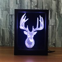 Barato Frames Florais 3d-Deer 3D Lamp LED Photo Frame Decoração Lamp IR Remote 7 RGB Lights DC 5V Fábrica Drop Shipping Color Gift Box