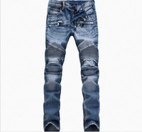 Wholesale Printed Skinny Jeans 28 - Wholesale-Fashion Men Jeans New Arrival Hip Hop Design Slim Fit Fashion Biker Jeans For Men Good Quality Blue Black Plus Size 28-40 ,YA141